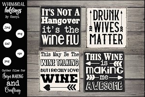 Wine Flu SVG Magnet-Sign Set